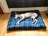 KosiPet® Deluxe EXTRA LARGE Waterproof Dog Pet Bed Beds BLUE CHECK FLEECE,