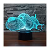 3D Illusion Lampe LED Nachtlicht, EASEHOME Optische 3D-Illusions-Lampen Tischlampe Nachtlichter 7 Farben Berührungsschalter Schreibtischlampe mit 150cm USB-Kabel Kinder Nachtlampe, Hund