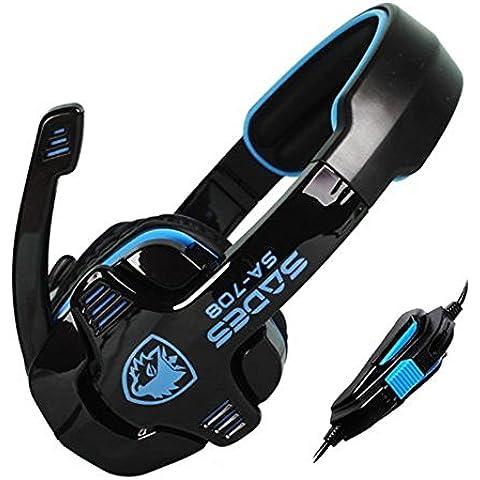 Sades SA-708 - Auriculares estéreo gaming para PC, color azul