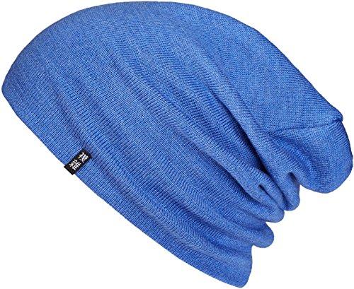 Wolle Beanie (Enter the ComplexMerino Beanie, Zweilagige Feinstrick Mütze, Warm und Dünn, Damen und Herren, Blau)