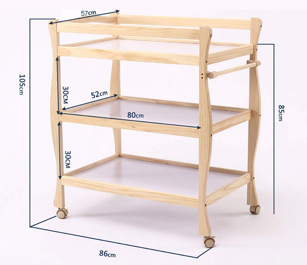 Children Changing Table with Casters Wooden, Diaper Storage Nursery Station with Pad for Newborn/Infant GUYUE Silent caster with brake. Safety rails enclose all four sides of the changing area Strong and sturdy wood construction: Pine + solid wood paint free board. 3