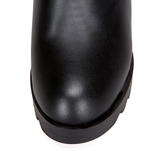 VogueZone009 Damen Überknie Hohe Stiefel Ziehen Auf Hoher Absatz Rund Zehe Stiefel Schwarz