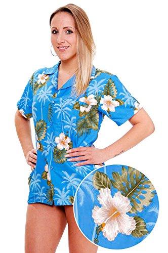 Original-King-kameha-Funky-Hawaii-Blusa-Hawaii-Camisa-Mujer-XS-6-x-l-manga-corta-frontal-de-funda-Hawaii-de-Print-Flores-Hojas-floral-color-azul-claro-azul-claro-xx-large