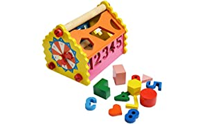 Shumee Wooden Number & Shape Sorting House (1.5 years+) - Addition, Subtraction & Time-telling