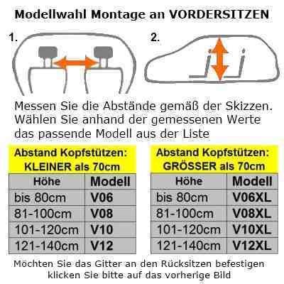 OVITAN Hundegitter fürs Auto 8 Streben universal zur Befestigung an den Kopfstützen der Vordersitze – für alle Automarken geeignet – Modell: V08 - 5