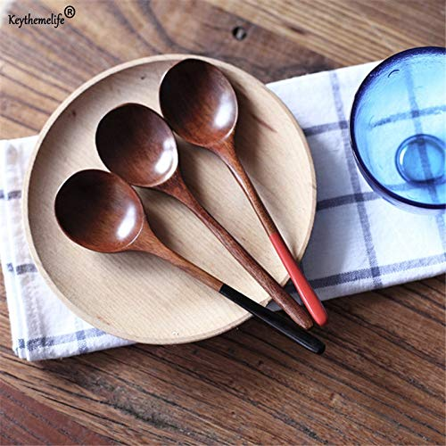 Tableware Wooden - 1pc Wooden Big Spoon Red Black Handle Dessert Cake Food Japanese Style Tableware B - Fork Nuwave Spoons Kitchen Couples Little Hanging Tshirt Decor Shirt Serving Pajamas Sou Cherry Spoon Rest