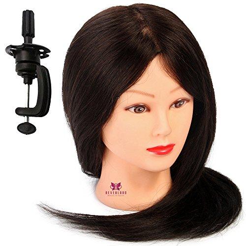 Neverland Professionnel Tête d'exercice 100 cheveux humains Tête à coiffer professionnelle Cosmétologie Mannequin Head 50cm marron