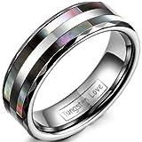 JewelryWe Schmuck 6mm Breite Wolframcarbid Damen-Ring Abalone Inlay Trauringe Hochzeit Engagement Versprechen Band Größe 49 bis 59