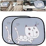 Pack de 2coches Parasol Protector solar vehículo coche ventana Sun Shade UV Protección Fundas para bebé Niños Niños mascota perro (Cat)