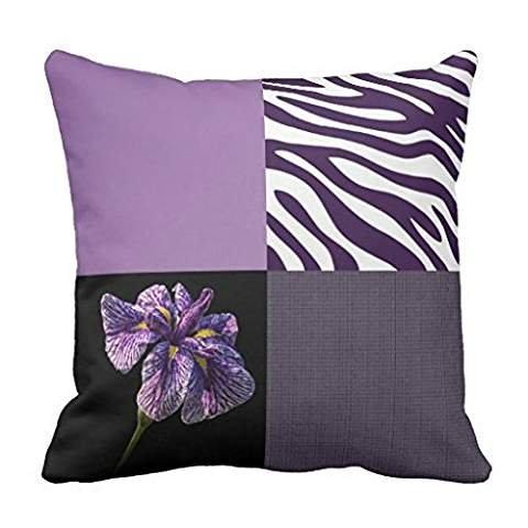 Zebra Iris (Purple Iris Zebra Stripe Gradient Colors Texture pillowcase Pillow shams case Cushion Cover 20*20)