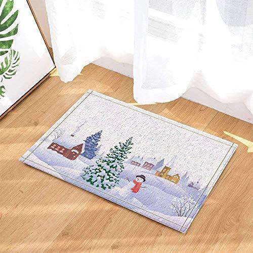 Kleine Schaumstoff-zylinder (SRJ2018 Schneemann mit rotem Schal und schwarzem Zylinder Steht neben schneebedeckten Bäumen Super saugfähig, Rutschfeste Fußmatte oder Fußmatte, weich und bequem)