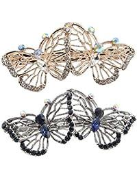 Frcolor Broche de pelo de la horquilla de la mariposa Gema de la horquilla de cristal Horquilla de aleación dulce para la celebración de la boda de las mujeres de las mujeres (color al azar)