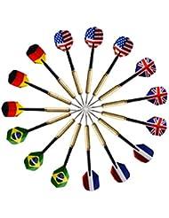 15pcsDardos de Puntade Acero 16g con Plumas de Banderas de Cinco Diferentes Países