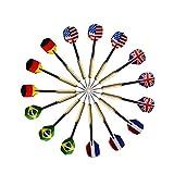 QUMAO - 15 pz Frecce Freccette con Disegno Bandiera Nazionale (5 Stili), Punta di Acciaio Inox