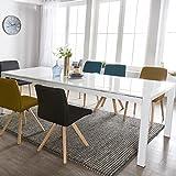 Esszimmertisch Glory 140 x 76 x 90 cm ausziehbar Hochglanz weiß Metall Holz | Küchentisch für 6-8 Personen | Design Esstisch rechteckig um 2 x 45 cm erweiterbar