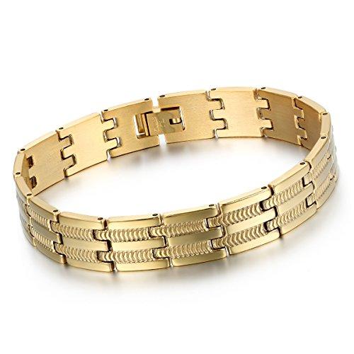 (Cupimatch Herren Edelstahl gold Armband, 12mm Breite Schlange Knochen Muster Fahrradkette Biker Hochglanz Poliert Rock Armreif Armkette)