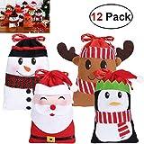 Hemoton 12PCS Weihnachten Beutel Geschenkverpackung Tüten für Süßigkeits Geschenke Dekorationen, Schneemann, Weihnachtsmann, Rotwild, Pinguin