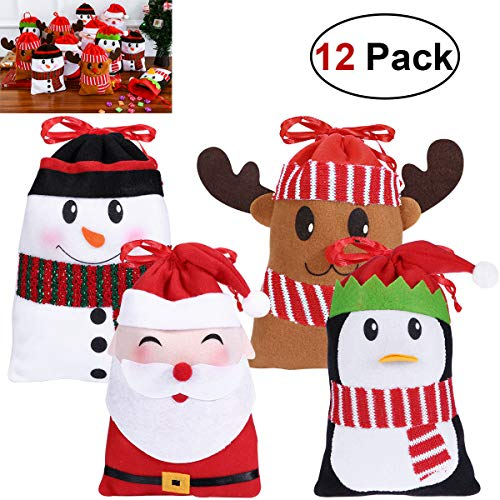 Hemoton 12PCS Christmas Candy Bags Gift Treat Bags for Favors and Decorations Super Cute Snowman Santa Claus Deer Penguin