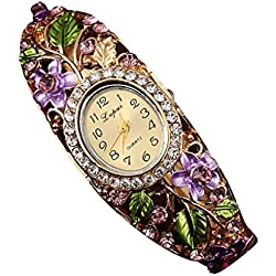 PSFY Women Slim Flower Leaves Reinstone Round Band Bracelet Wrist Watch Christmas Gift(purple)