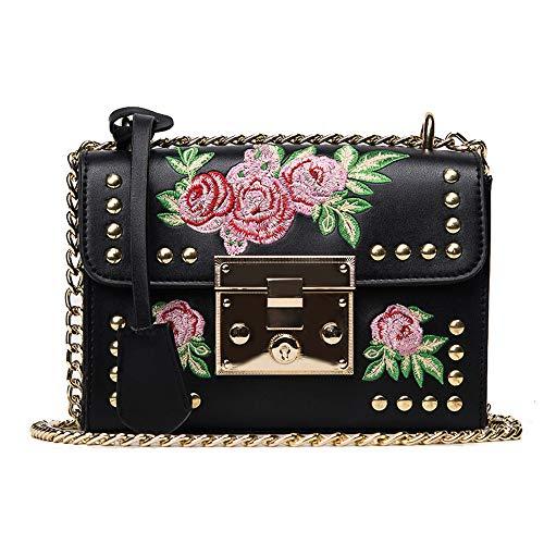 Dorical Damen Handtaschen Blumen Rose Umhängetasche Crossbody Kette Schultertaschen Abdeckung Kuriertaschen Kuriertasche Tragetasche Taschen Leichte Stylische Tote Bag für Frauen(Schwarz) -