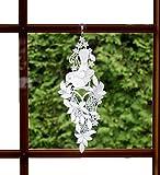 Fensterbild Plauener Spitze Weiß 14x36 cm + Saugnapf Vogel auf Blütenstamm Fensterschmuck Spitzenbild Fensterdekoration