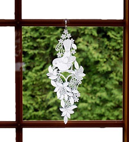 Fensterbild Plauener Spitze Weiß 14x36 cm + Saugnapf Vogel Blütenstamm Fensterschmuck Spitzenbild Fensterdekoration