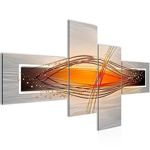 Bilder Abstrakt Wandbild 160 x 80 cm Vlies - Leinwand Bild XXL Format Wandbilder Wohnzimmer Wohnung Deko Kunstdrucke Orang 4 Teilig - MADE IN GERMANY - Fertig zum Aufhängen 103345c