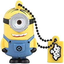 Tribe Los Minions Despicable Me Stuart - Memoria USB 2.0 de 16 GB Pendrive Flash Drive de goma con llavero, color amarillo