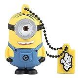 Tribe Los Minions Despicable Me Stuart - Memoria USB 2.0 de 16 GB Pendrive Flash Drive de goma con llavero, color amarillo