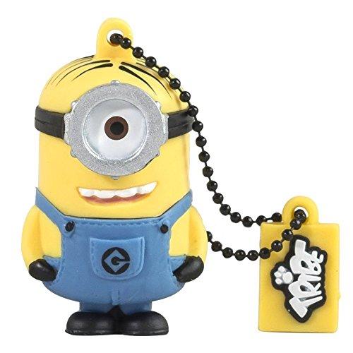 Tribe Minions Stuart USB Stick 16GB Speicherstick 2.0 High Speed Pendrive Memory Stick Flash Drive, Lustige Geschenke 3D Figur, USB Gadget aus Hart-PVC mit Schlüsselanhänger – Gelb