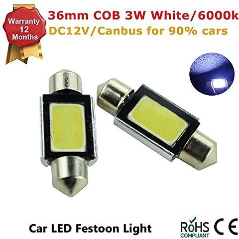 2 Pcs High Power 3W White 36mm COB LED Festoon Bulbs For Car Dome Map Lights DC12V