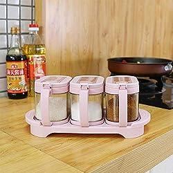 Contiup Boîte à épices en Verre Assaisonnement Boîte à épices Boîte à Condiments Boîte à épices Boîte à épices Cruet Cuisine avec Couvercle et cuillère Ustensiles de Cuisine 3pcs / Set, Couleur Rose