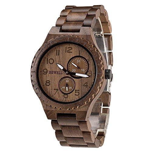 SuoYaNuo W154A Natural Holz Uhren für Männer mit Kalender Quarz leichte Armbanduhr (Walnut wood)