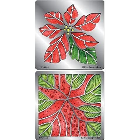Stampendous FMSD109 Stencil Set, Poinsettia Duo by