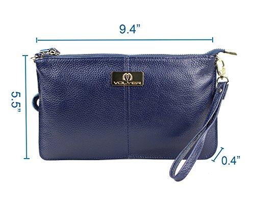 Volyer Women's Clutch Bag Leather Purse Handbag Shoulder Bag Blue