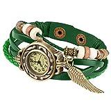 Taffstyle Damen-Armbanduhr Retro Vintage Geflochten Leder-Armband mit Charms Anhänger Analog Quarz Uhr Flügel Gold Grün