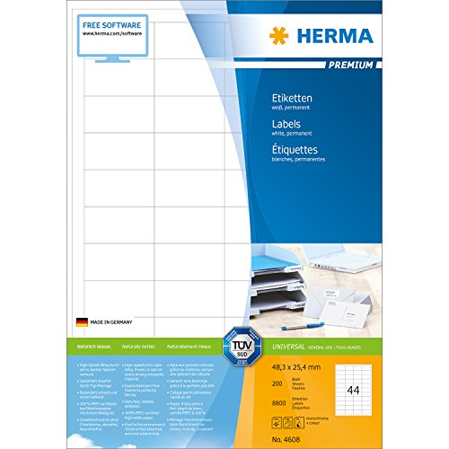 Preisvergleich Produktbild Herma 4608 Universal-Etiketten (Premium A4 Papier matt, 48,3 x 25,4 mm) 8800 Stück weiß