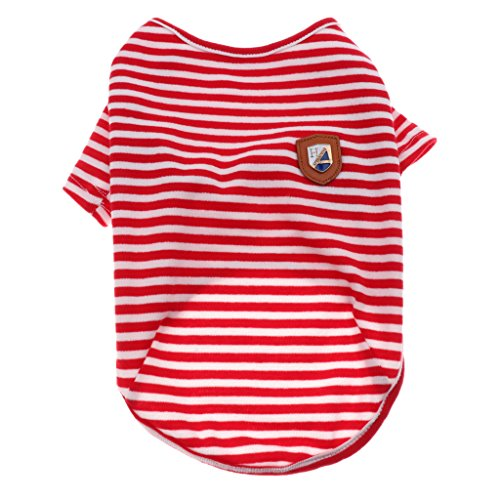 Shirt Gestreifte Kostüm Rot - perfk Sommer Hundebekleidung Hundeshirt Gestreifte T-Shirt Hunde Mantel Hundekleidung - Rot-S