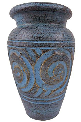 Rotfuchs Teracottavase Tonvase Blumenvase aus Ton 20 cm hoch Handarbeit Türkisblau