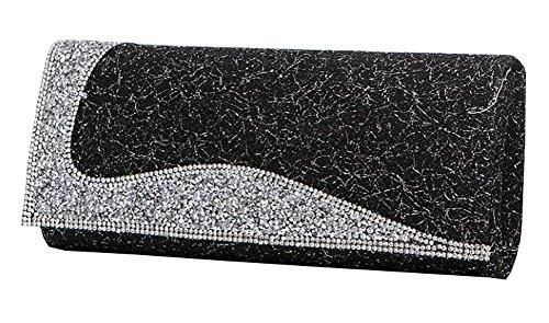 Frauen-Handtasche-Schulter-Abend-Handtaschen-Einkaufstasche schwarz 6