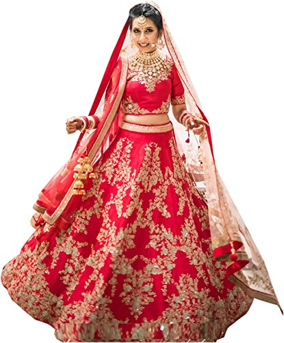 ShreeBalaji Creation Womens's Red White Semi-stitched Bridal Lehengas cholis(MultiColour_Freesize)