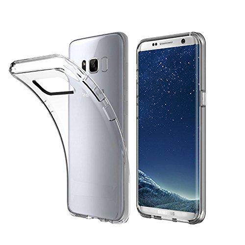 Minto Schutzhülle und Panzerglasfolie für iPhone 7 / iPhone 8 Hülle TPU Case Silikon Crystal Cover Durchsichtig Ultradünn 0.6mm (verkleinerte Folien, aufgrund der Wölbung des Displays) Galaxy S8+