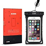 Waterproof Case,AOWIN Universal Cell Phone Dry case with Adjustable Military Lanyard Strap for iPhone 6S 6 6S Plus SE 5S Galaxy S8 Plus S7 S6 S5 S4 Edge Note 5 4 3, LG Huawei And More Cell Phone Up to 6 inches.