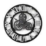 OIURV Horloge Murale silencieuse de Style rétro pour la décoration intérieure - Diamètre: 40cm - (Chiffres Romains Argent)