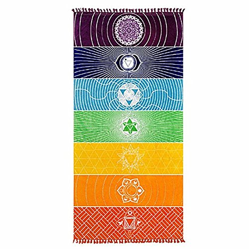 Jeteven Regenbogen Strandtuch boho Yoga 7 Chakras Teppich Handtuch Tapisserie Badetuch Zigeuner Sonnenschutz Schal 150*75cm bunt