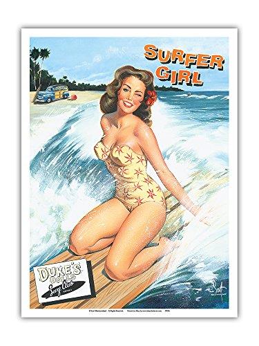 Pacifica Island Art - Surferin - Retro Woodie mit Surfbrettern und Pin-up Girl - Gemälde von Scott Westmoreland - Kunstdruck 23 x 31 cm