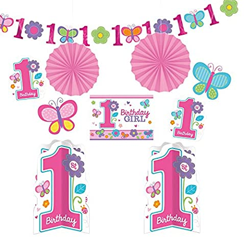 Amscan 240432 - Party Deko Set, Sweet Birthday Girl, 10-teilig (1 Kindergeburtstag)