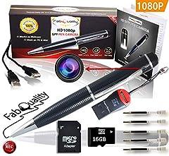 Idea Regalo - FabQuality 1080p. Penna con videocamera nascosta, scheda SD da 16 GB, Real di Video HD, Audio Image aggiornato Batteria & 5, da riempire con inchiostro e multifunzione DVR.-Regalo perfetto