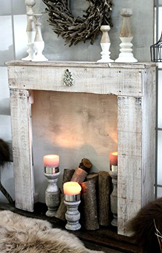 Kaminkonsole Dekokamin Kaminsims aus Holz in antik weiß fertig montiert -
