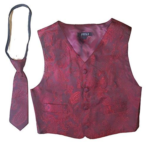 Good Shirt TM Kinder/Jungen Festlich Weste mit Krawatte in Rot oder Schwarz (2 Jahre / 98 cm, Rot)